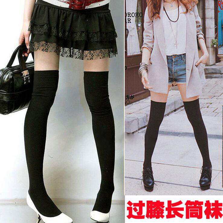 Girl Tight High Stockings Over Knee Socks Ponczochy Solid Colors Cotton Warm Cute Collant Opaque College Japanese Style CI154 ...