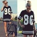 Лето женщины знаменитости 86 печать Vestidos америка бейсбол T рубашка верхний короткий рукав Mini свободного покроя платье vestido де феста