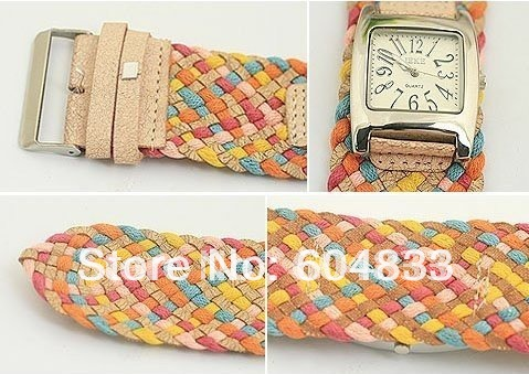 korea rope watch woven cracked leather band wide belt watch rainbow watch 4 colors ladies knit bracelet watch