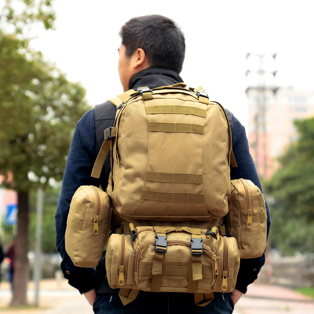 <font><b>50L</b></font> Military Tactical Assault Pack Rucksack Armee Molle Wasserdicht Bug Out Bag Large Rucksack für Outdoor Wandern Camping Jagd image
