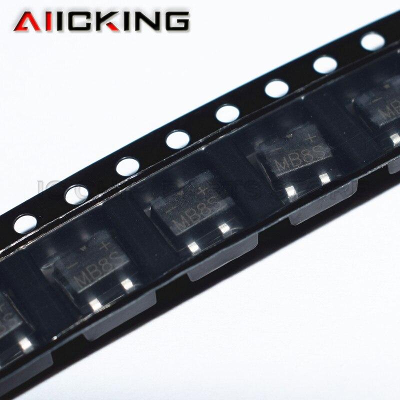 10PCS MB8S 0.5A 800V SOP4 Bridge Stacker Rectifier New Original