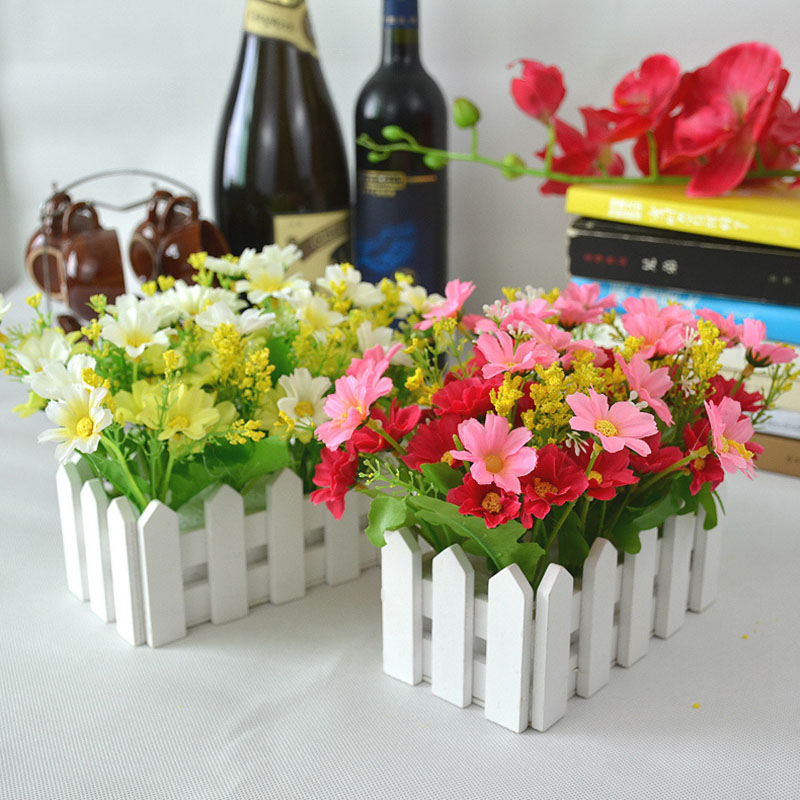 Wedding Decor Artificial Flower Fake Daisy in White Picket Fence Pot Pack Louis Simulation Artificial Flowers Garden Small Plant