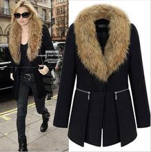 Winter Wool Coat Women 2016 XL-6XL Plus Size Fashion Long-sleeved Stitching Woolen Coat With Fur Collar Slim Overcoats BF446