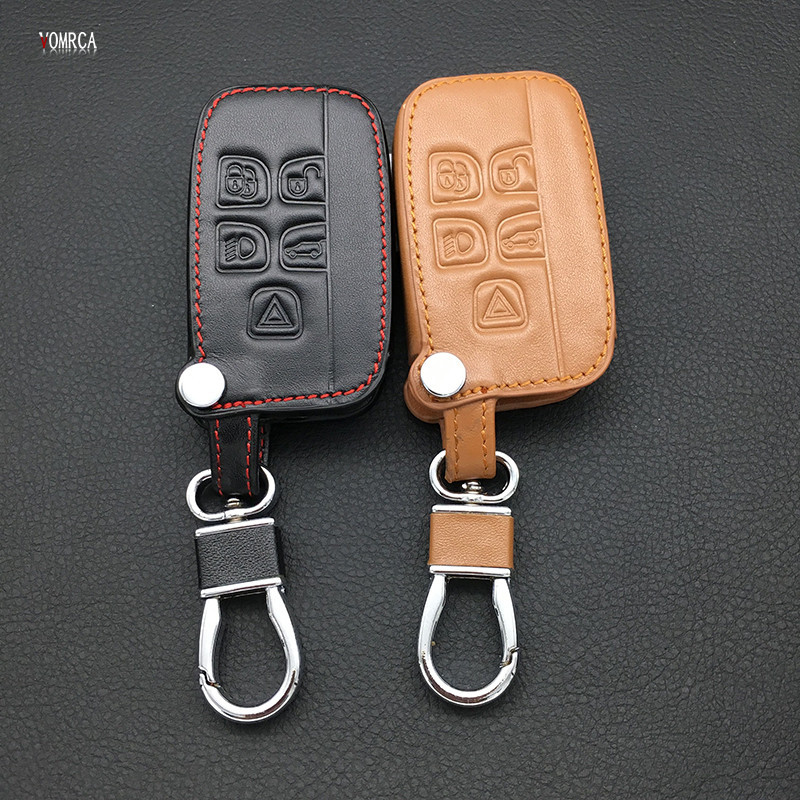 High quality new design style leather car key cover case for Land Rover a9 range rover freelander Evoque discovery keychain HOT|key case for car|car key case cover|land rover key case - title=