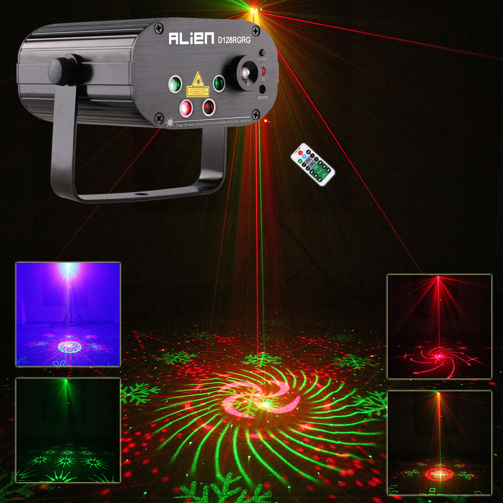 2018 Sound Activated Party Lights 4 Lens RG LED Laser Gobo Disco Lighting For DJ Home