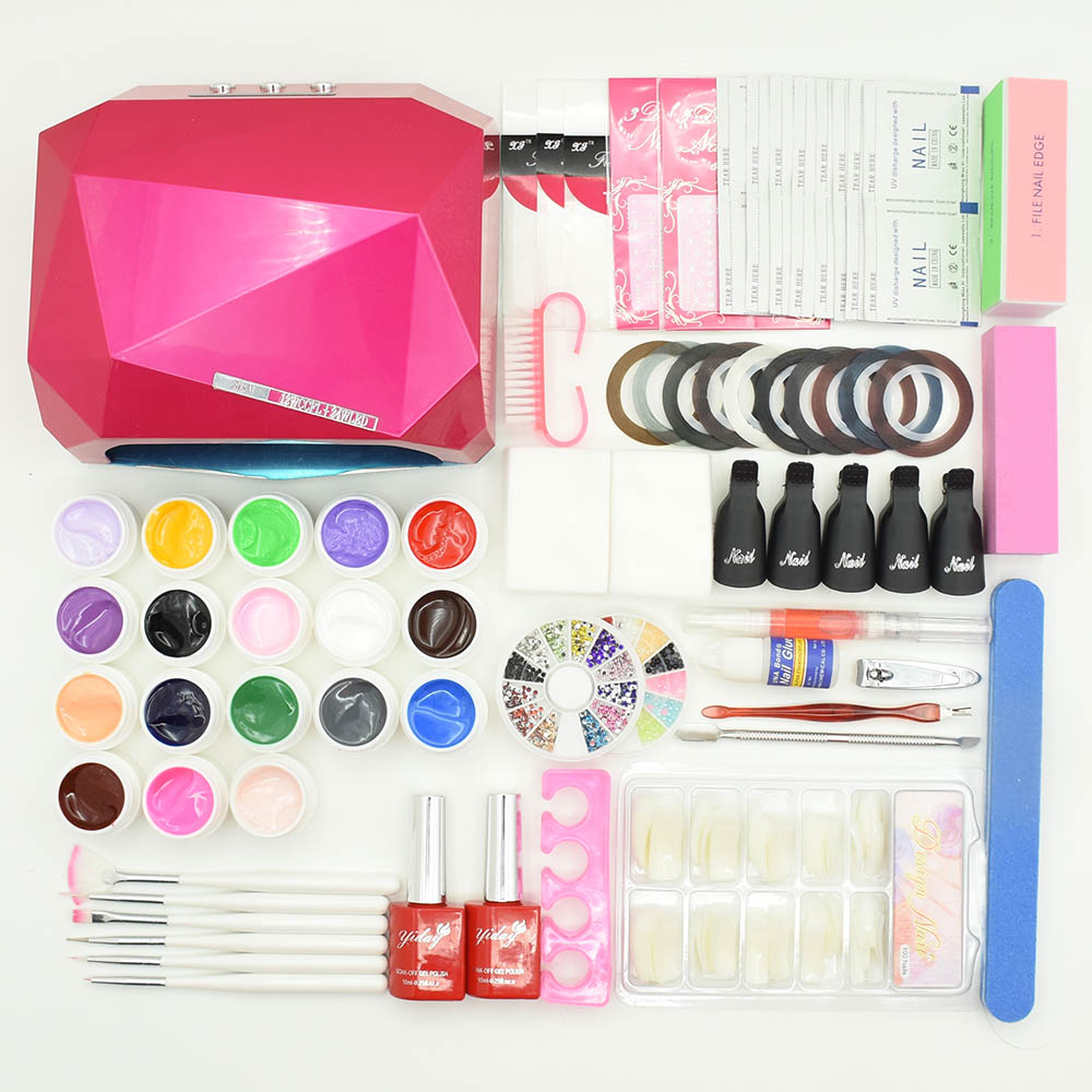 nail set 48W SUN5 UV LED lamp nail dryer 18 colors nail gel polish & base gel top coat gel varnish nail art tools manicure sets new 24w professional uv led nail gel 9c lamp of resurrection nail polish tools and portable five soaked nail gel art set