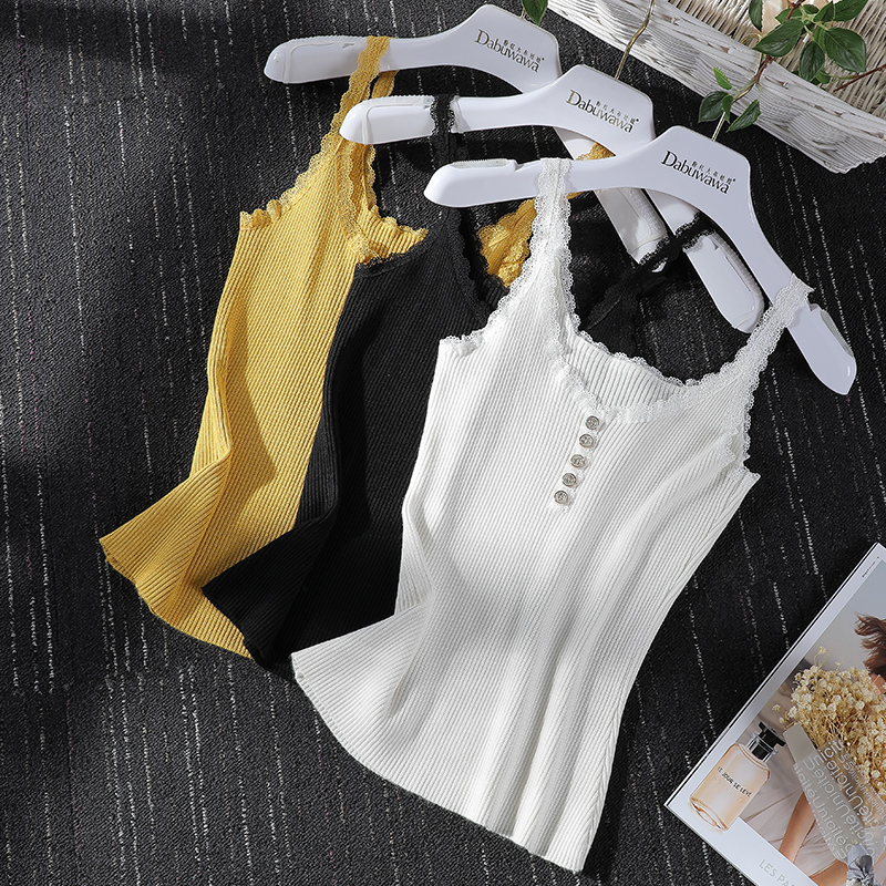 Dabuwawa 2019 New Summer Women's Sexy Solid Color   Tank     Tops   Sweet Lace Knitted Vest   Tops   Black/White/Yellow DN1BVS007