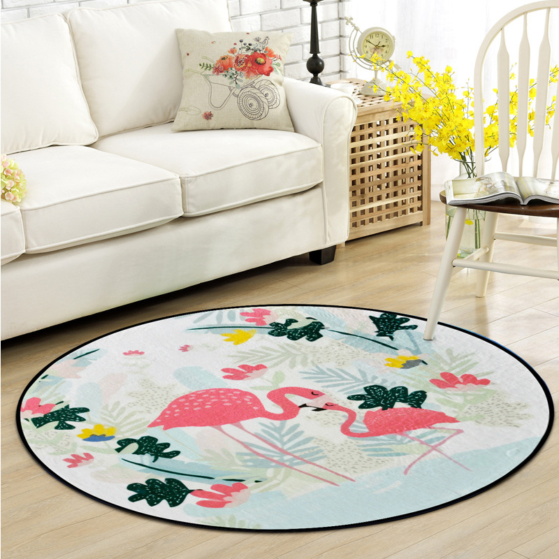 Cartoon Animals Print Round Doormat Non-Slip Rugs Pad Flamingo Tiger Parrot Bear Tropical Carpet Kids Room Home Decor Floor Mat