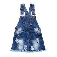 Children Denim With Shoulder Straps Burr Hole Wave Cowboy Suspenders Girls Small Children All Match