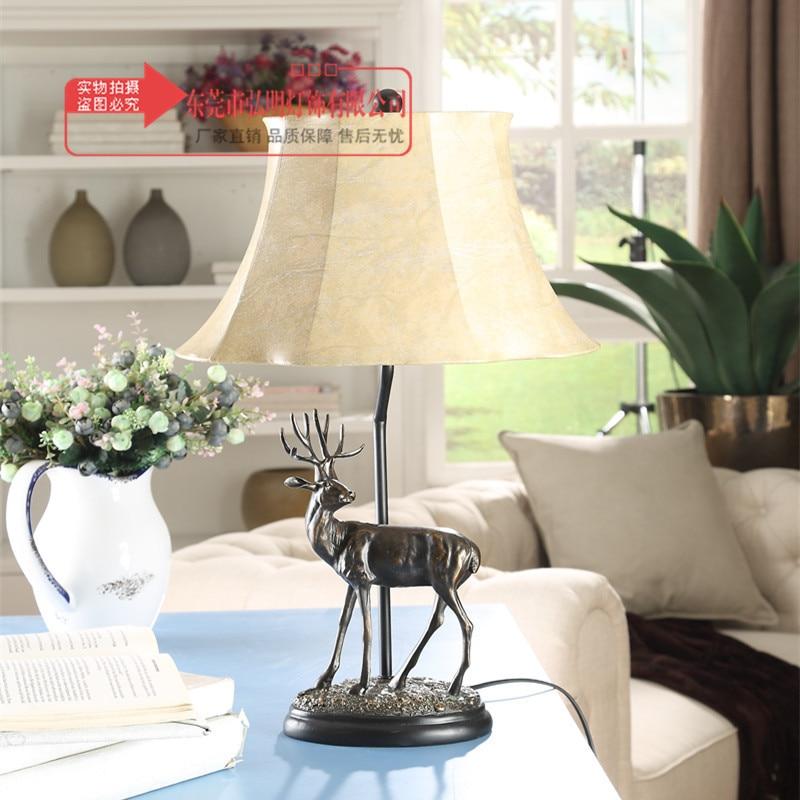 Туда Лось статуя настольная лампа для гостиной спальни исследование настольная лампа восстановление американский страна украшение tablle ла...