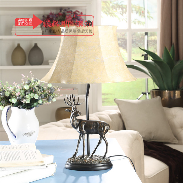 TUDA Elk Statue Table Lamp For Sitting Room Bedroom Study Table Lamp  Restoring American Country Decoration