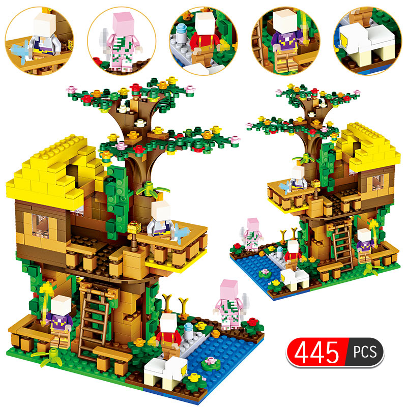 Toys & Hobbies Model Building Persevering 445pcs My World Brinquedo Bricks Classic Jungle Tree House Compatible Legoingly Minecrafted Building Blocks Toys For Children 2019 Official