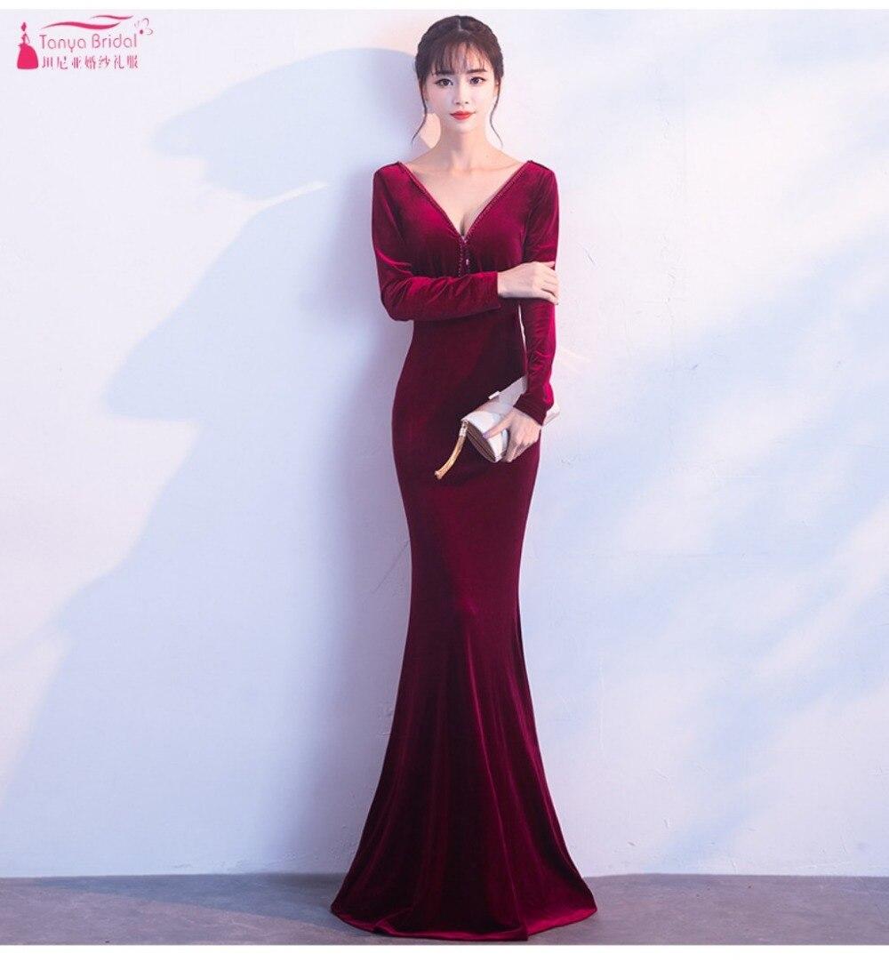 Burgundy Mermaid Evening Dresses 2019 V-Neck Long Sleeve Simple Long Prom Gowns  ZE084