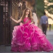 Великолепные Платья с цветочным узором для Девочек Пышные вечерние платья принцессы из тюля с аппликацией на день рождения платья для первого причастия