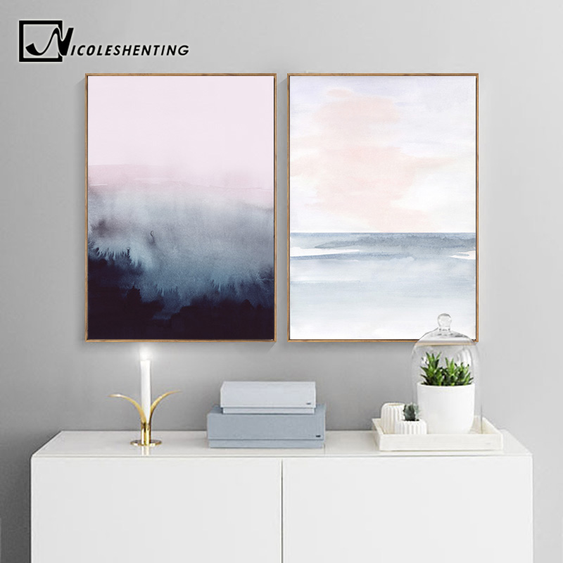Watercolor Forest Abstract Canvas Poster Nordic Landscape Wall Art Print Painting Decoration Picture Scandinavian Home Decor