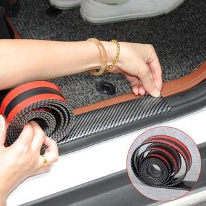 Image 1 - Автомобильные наклейки 5D из углеродного волокна, резиновый Стайлинг, протектор порога двери, товары для KIA Toyota Mazda BMW Audi Ford Hyundai и т. д., аксессуары