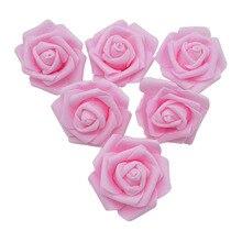 6cm 20 adet güzel PE köpük gül yapay çiçek kafa DIY düğün buket çelenk çiçek topu hediye kutusu DIY ev dekorasyon