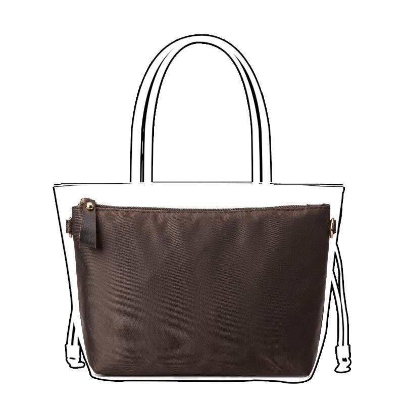 Coffee Nylon Organizer Bag With Zipper Pockets, Favorite Purse Inserts keep Expensive Bags Interior Clean; Thick Nylon Material