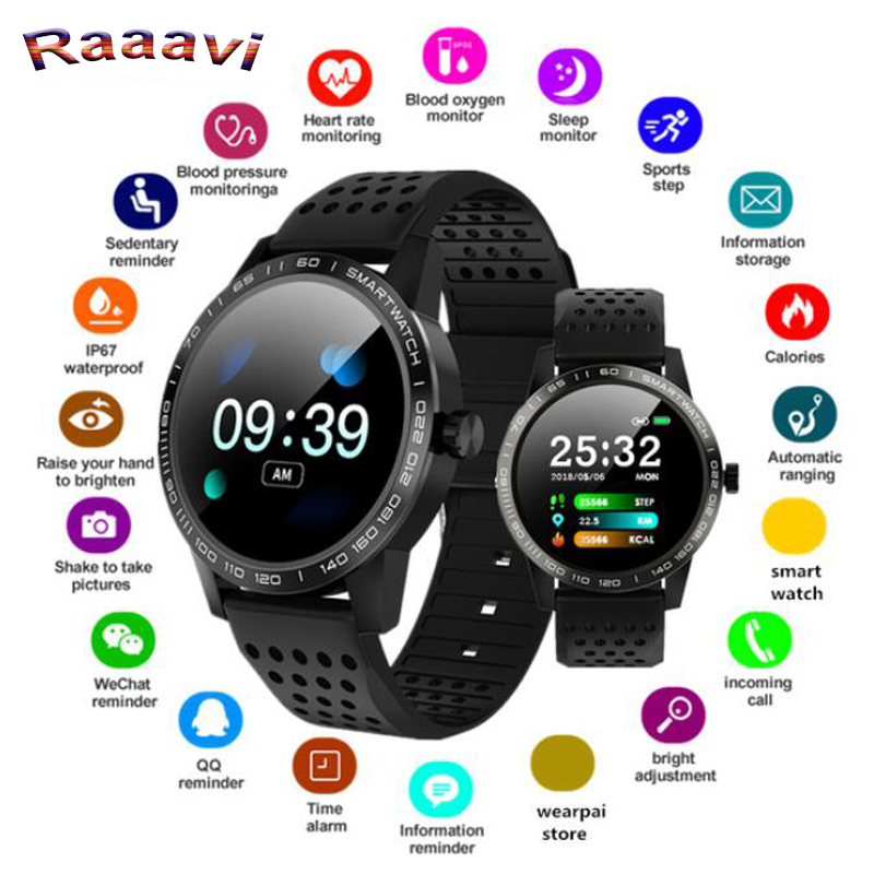 Raaavi Smart watch T2 IP68 Waterproof Heart Rate Blood Pressure monitoring Smartwatch Outdoor Sport Bluetooth Fitness bracelet new garmin watch 2019
