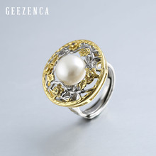 925 Sterling Silver Round Flower Inlaid Freshwater Pearl Resizable Open Ring for Women Vintage Elegant Cocktail Ring Baroque
