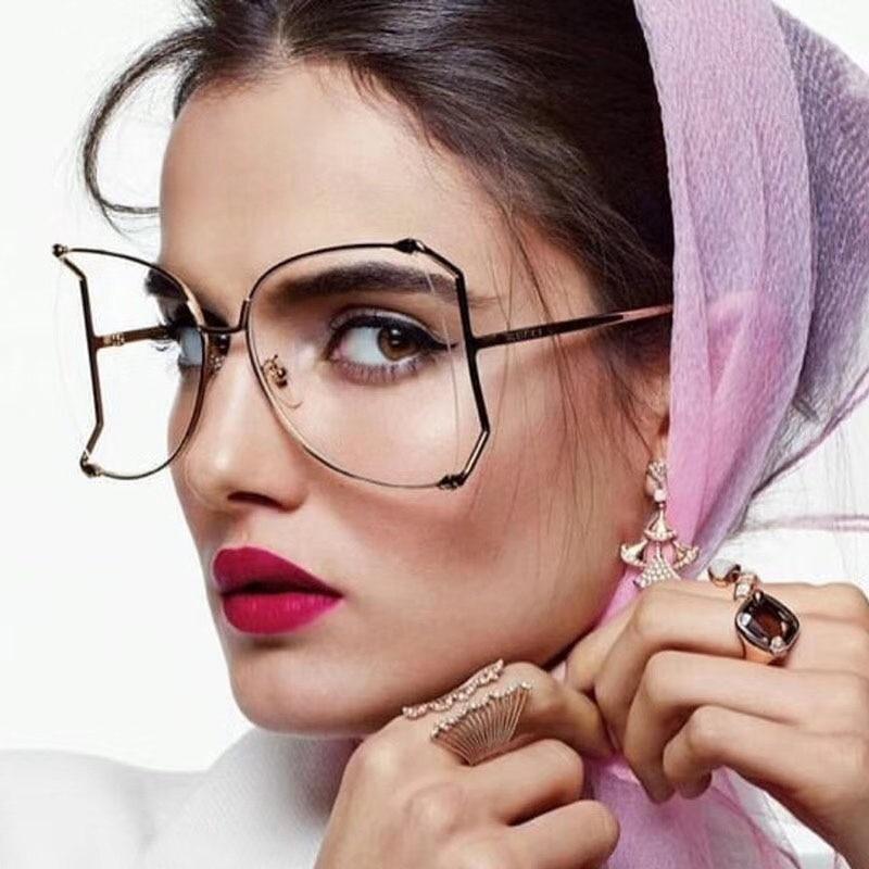 luxury Brand designer oversized eye glasses frames for women big spectacles Rimless female grade transparent glasses clear lens