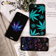 CASEIER Soft TPU Phone Case For iPhone X Luxury Leaves Patterned Black Cases 6 6s Plus 7 8 Sexy Funda Capinha