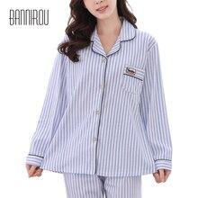 Plus Size Woman Pyjama Set Cotton Blue Pink Lady Loose Lapel Home Clothing Spring Autumn Female
