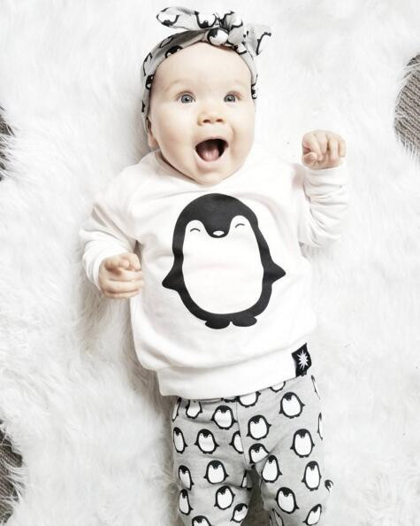 2019 Fashion Baby Boys Girls Clothing Sets Long Sleeve Cute Penguin T-shirt+Pants+Headband  Newborn Infant Baby 3PCS Outfits 1