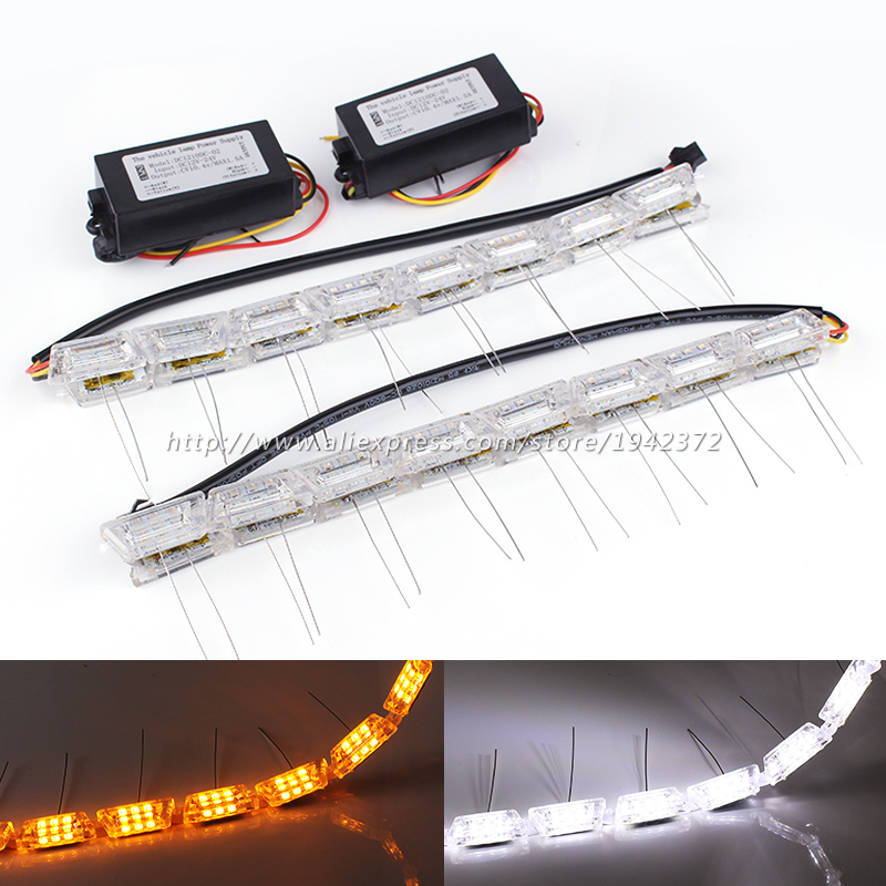 Headlight Sequential Flasher Color DRL Turn Signal 2PCS Flexible White/Amber Switchback LED Knight Rider Strip Light Car Styling 6pcs 60cm flexible tear strip switchback daytime running light drl with turn signal light 7 dual color fd 4767