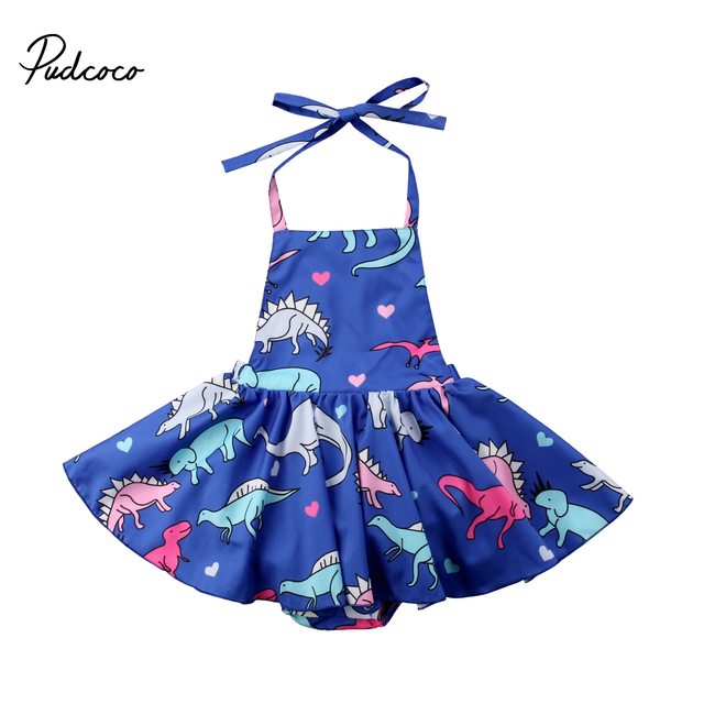 3547b725f1d9 2018 Brand New Toddler Infant Kids Baby Girl Dinosaur Fly Sleeve Romper  Dress Jumpsuit Outfits Summer