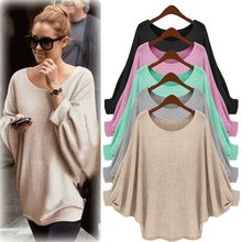 2016 autumn winter women new fashion bat sleeve loose sweater coat casual o-neck pullovers tops