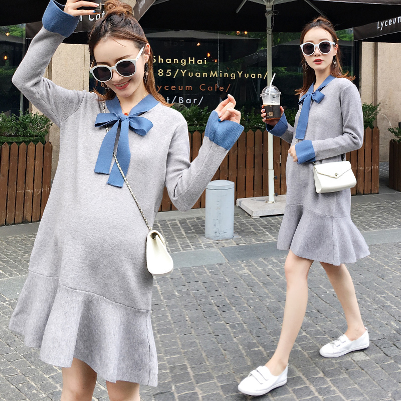 Maternity clothing autumn and winter 2017 sweater long-sleeve dress fashion Bow tie knitted dresses pregnancy clothes vestidos bonu sexy bodycon sweater dress simple elegant dress female winter knitted flare sleeve split dresses for women vestidos