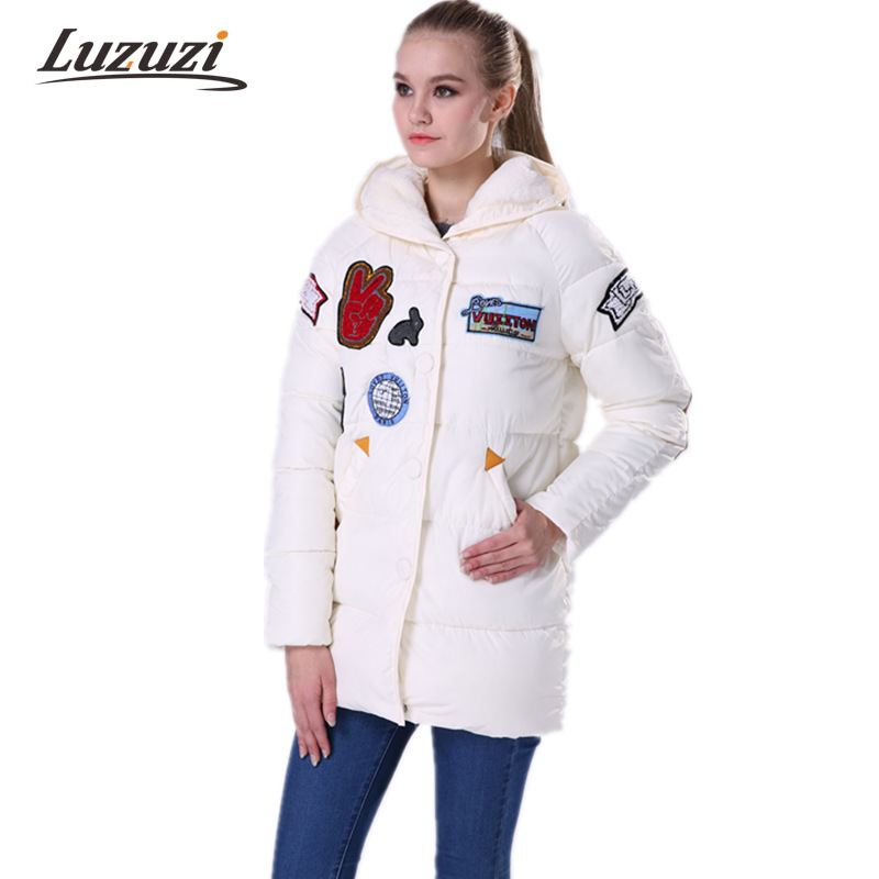 2017 Winter Jackets Women Military Appliques Parkas Cotton Padded Coat Medium Long  Wadded Overcoat Snow wear Jacket WS017 winter jacket women cotton padded thickening warm coat women s wadded jackets fur hood snow wear outerwear coats and parkas