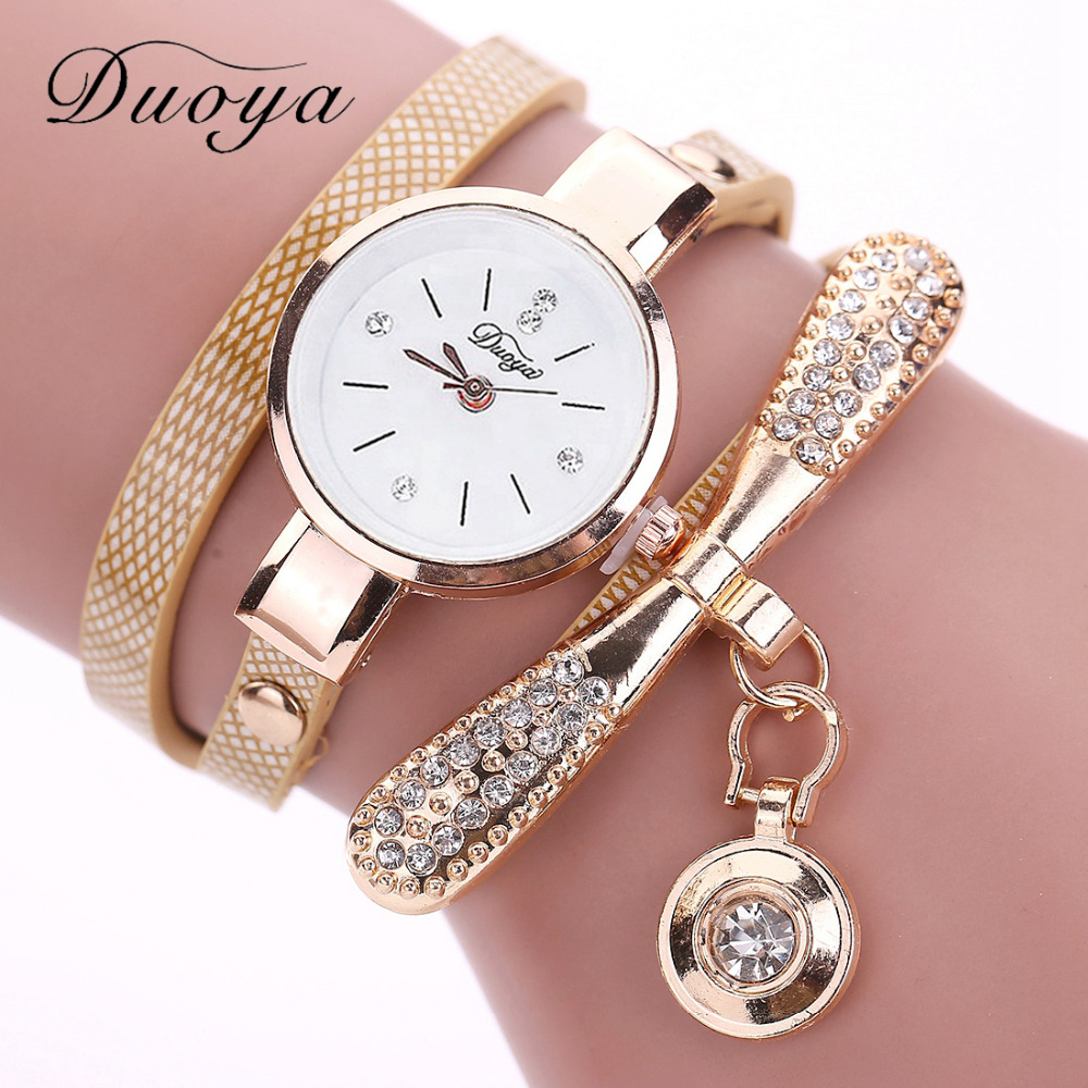 Duoya Brand Bracelet Watches For Women Luxury Gold Crystal Fashion Quartz Wristwatch Clock Ladies Vintage Watch Dropshipping duoya brand women bracelet luxury wrist watch for women watch 2018 crystal round dial dress gold ladies leather clock watch