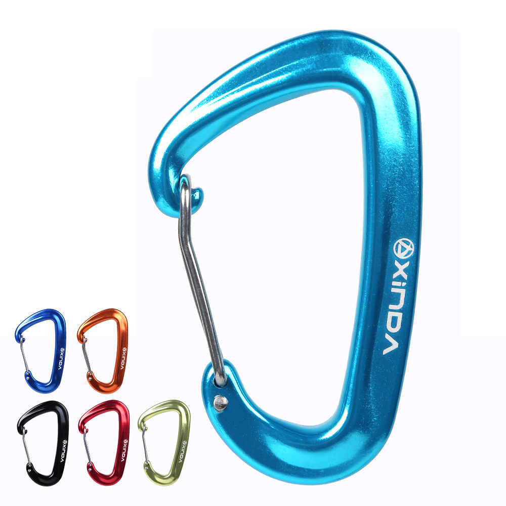 5KN Aluminium Alloy Spring Clip Carabiner For outdoor Hammock Buckle Hook Camping Hiking Equipment Safety Gear Accessory outdoor carabiner 3 claw grappling hook rock climbing mountain gear