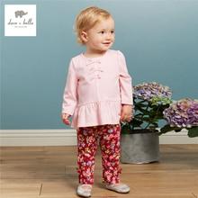 DB3636 дэйв белла осень новорожденных девочек розовый одежда наборы девушки цветок печатных набор детской одежды дети устанавливает детские костюмы
