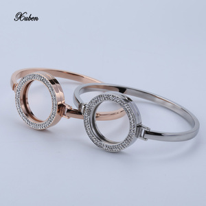 Fashion women Jewelry crystal stainless steel bracelet bangles Interchangeable 25mm coin disc activity Buckle for Christmas gift