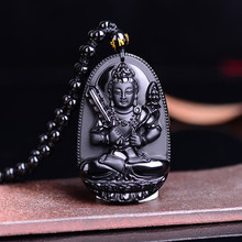 Original High Quality Unique Natural Black Obsidian Carved Buddha Lucky Amulet Pendant Necklace For Women Men pendants Jewelry