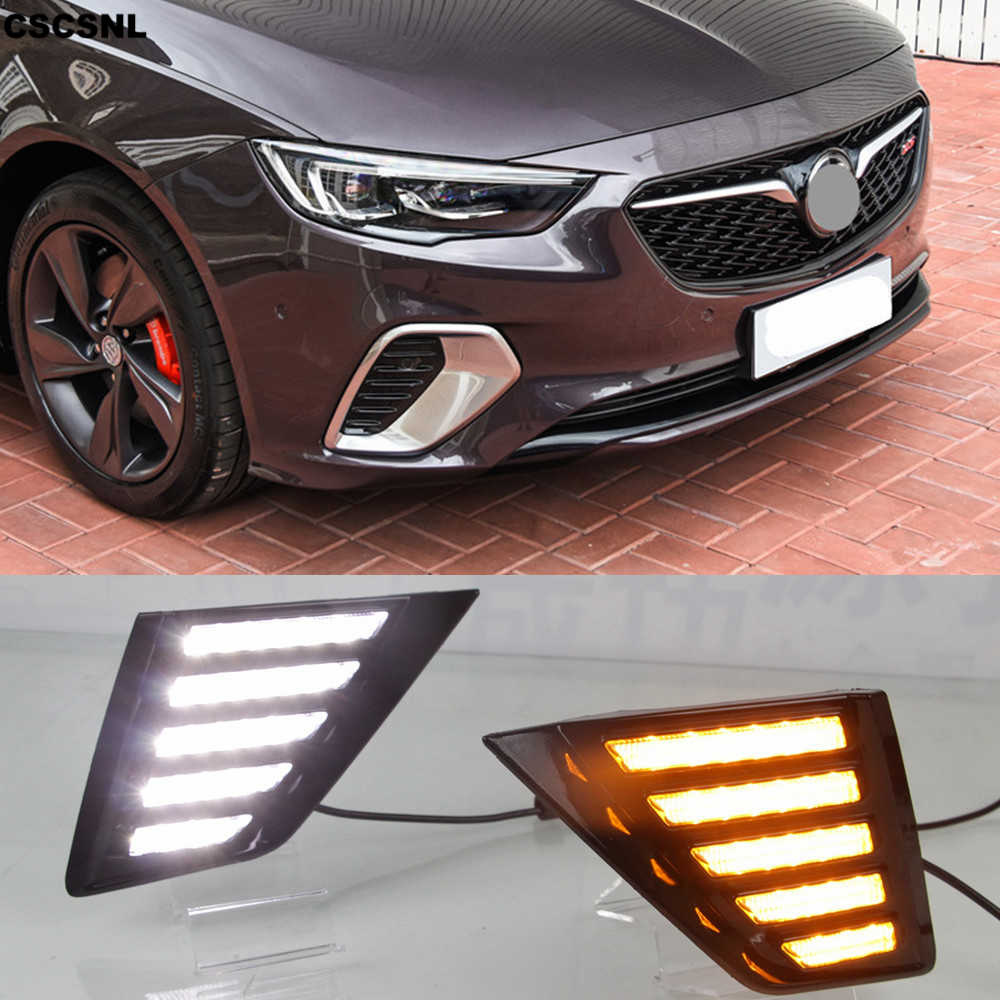 CSCSNL 2PCS Flowing Turn Yellow Signal Function 12V Car DRL Lamp LED Daytime Running Light For Buick Opel Insignia GS 2017 2018