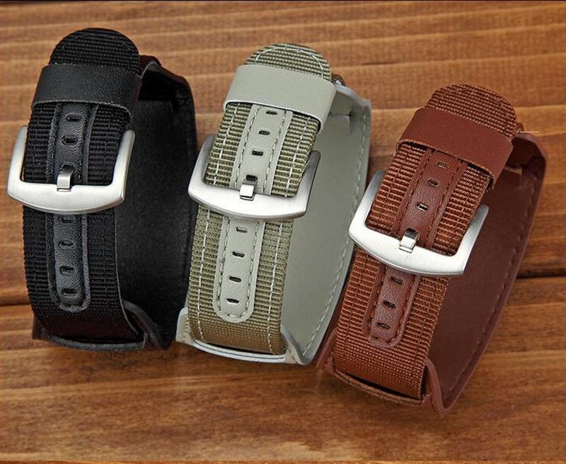 Купить с кэшбэком 80% Off 18mm 20mm 22mm 24mm 2in1 Nylon + Leather Watch Band Wrist Strap Watchband Wristwatch Bracelet Black Brwon Green