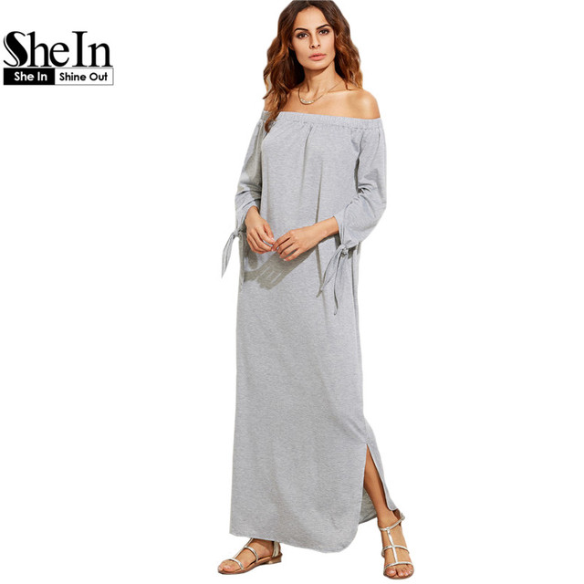 9152957236 SheIn Long Shift T-shirt Dresses For Ladies Summer Heather Grey Off The  Shoulder Tie