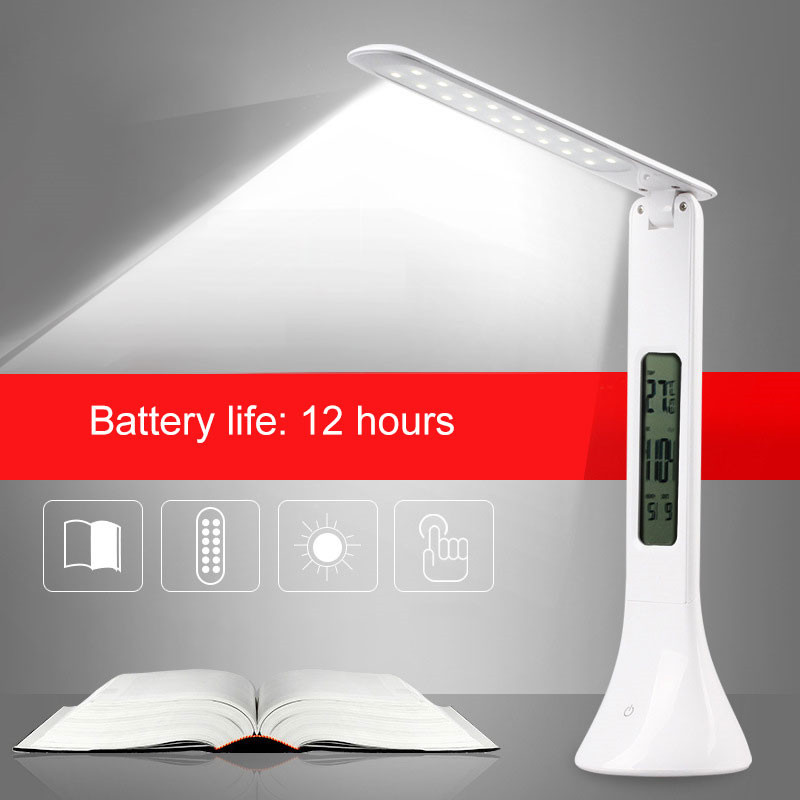 Dimmable 3 Level Touch LED office desk lamp Changing flexible lamp Book Light with Calendar Temperature Alarm Clock цена