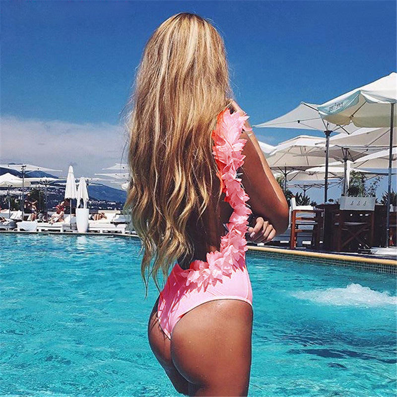 Pink Swimsuit Women in One Oiece Ruffled Cuff Swimwear Sexy Bathing Suit Beachawear femme Thong monokini Swimsuits 2017 one piece swimsuits trikinis high cut thong swimsuit sexy strappy monokini swim suits high quality denim women s sports swimwear