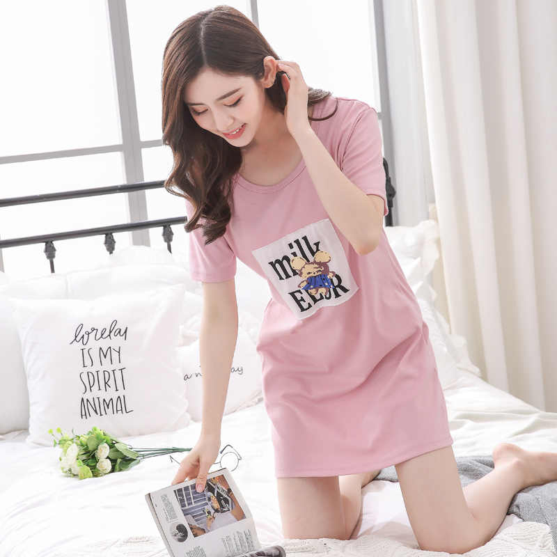 78eb66535e ... Summer Nightgown 100% Cotton Women Sleepwear Casual Lounge Dress sexy  Nightwear Cute Cartoon Night Shirts ...