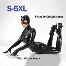 2e52b427eef Sexy Hot Female Faux Leather Latex Bodysuit Catwoman Costume Mask Gloves  Wetlook Bondage Catsuit Flexible Jumpsuit Clubwear