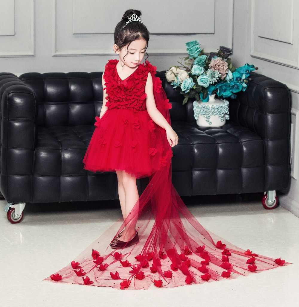 สีแดงT Ulleลากยาวชุดสาวดอกไม้สาวA Ppliquesวันเกิดงานแต่งงานเจ้าหญิงชุดแรกศีลมหาสนิทชุด