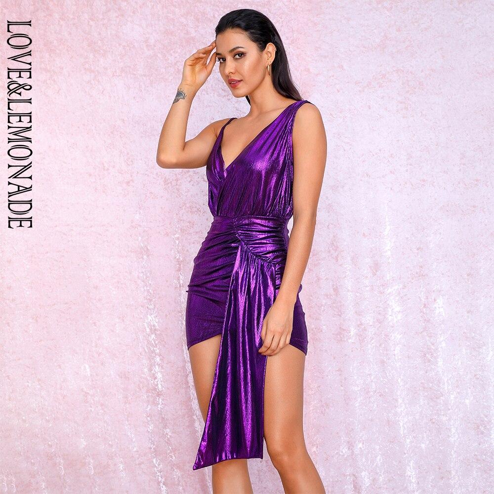 LOVE&LEMONADE Sexy V-Neck Purple Pleated Ribbon Splicing Bodycon Reflective Party Dress LM81846