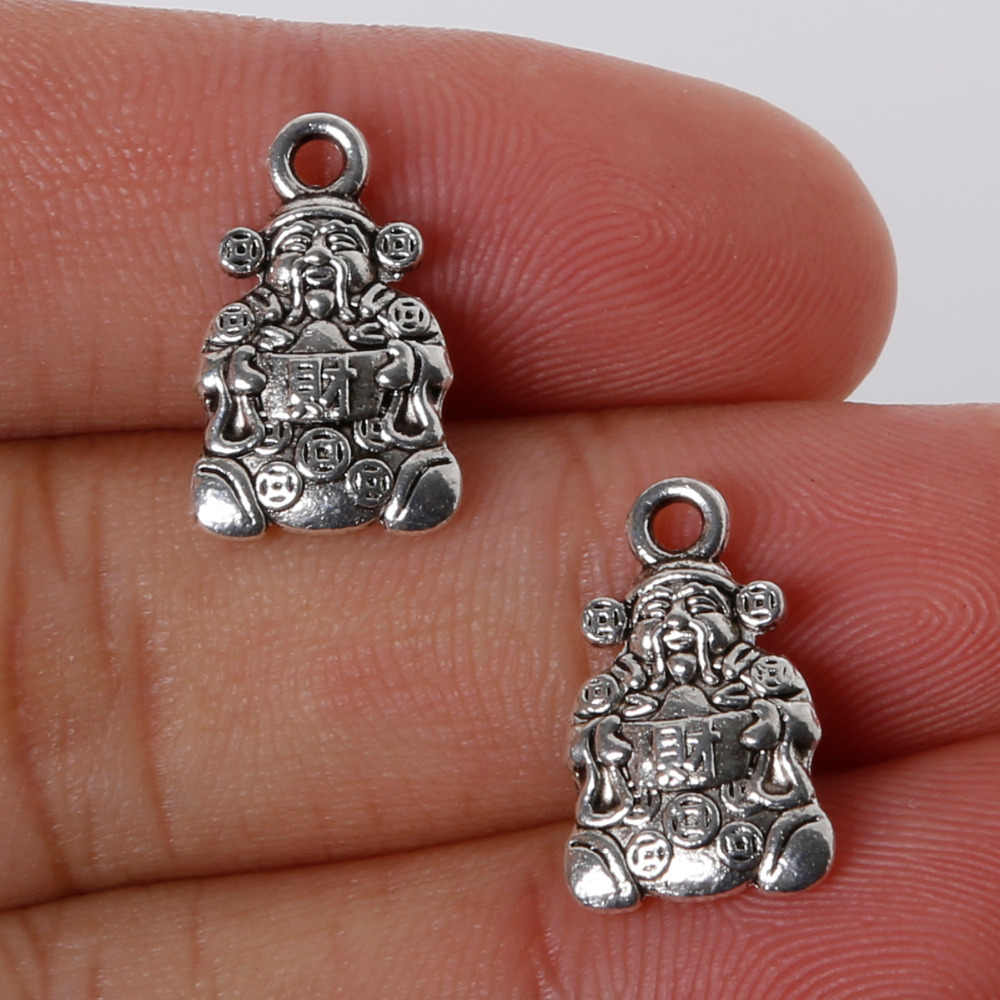 Most Popular 9pcs/lot 10*16mm Antique Sliver Plated Zinc Alloy Metal Charms God Of Wealth Pendants For Jewelry Making Findings
