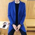 2016 Nueva Llegada Del Otoño Del Resorte Hombres de Un Solo Pecho Sólido Largo Casual Slim Fit Gabardina Prendas de vestir exteriores Azul/de Color Caqui/azul marino/Gris/Negro
