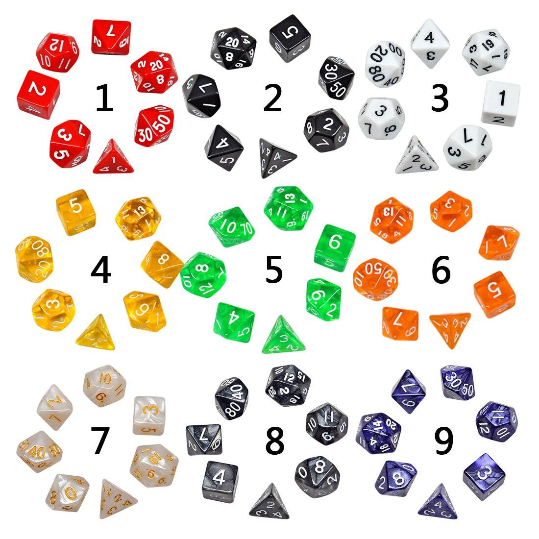 7pcs Dice Set With Nebula Effect Poker D&d D4 D6 D8 D10 D% D12 D20 Polyhedral Game Dice